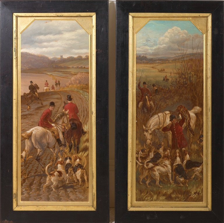 5: AFTER W H HOPKINS Hunting scenes Pair of over-painte