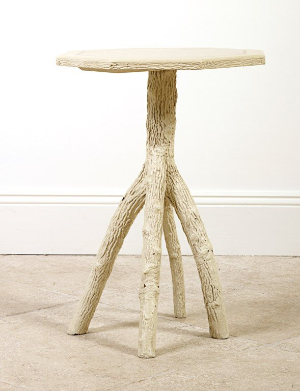 10: A painted wood tree branch form hexagonal table 65c