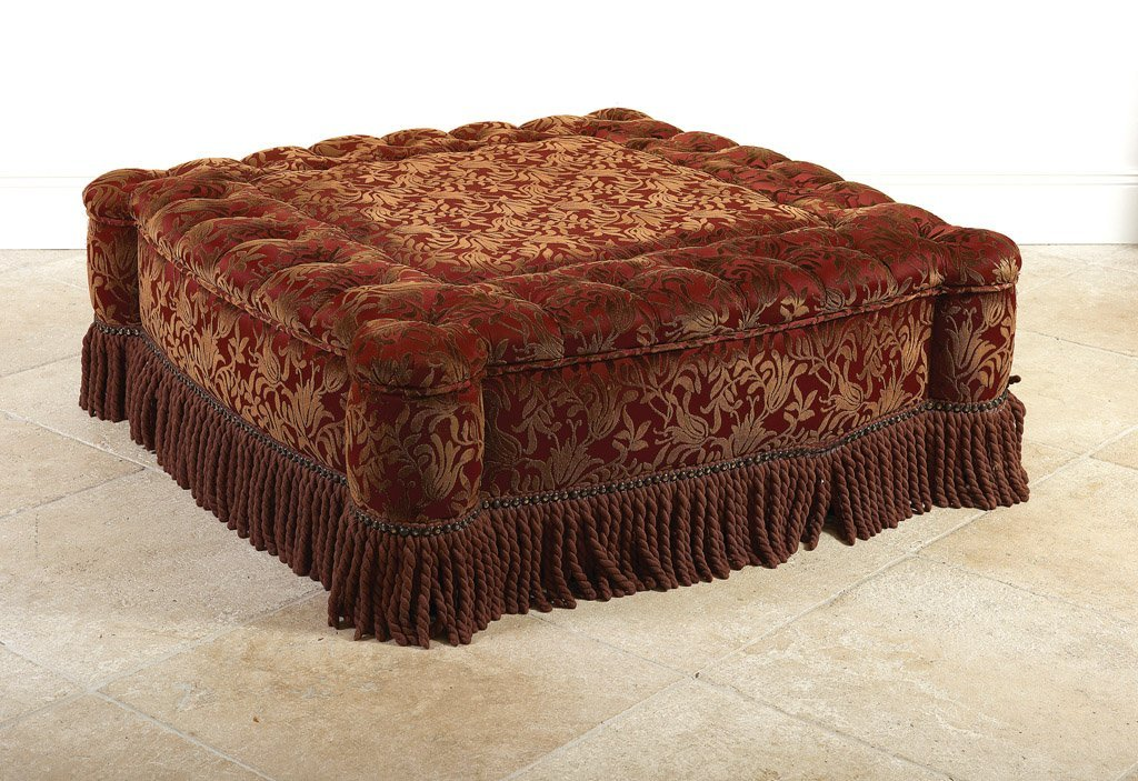 16: A large cut velvet shaped square fringed ottoman 48