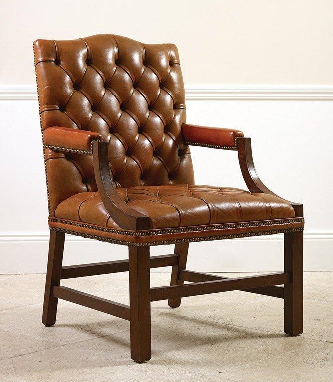 18: A George III style mahogany Gainsborough chair butt
