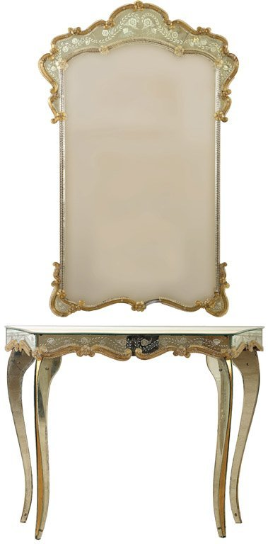 44: A fine Venetian mirrored and applied amber glass co