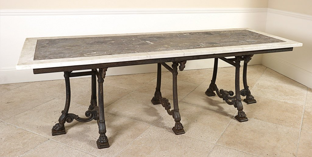 49: A large marble top cast iron centre table, French,