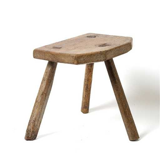 143 A Wooden Three Legged Stool 32cm High 30cm Wide
