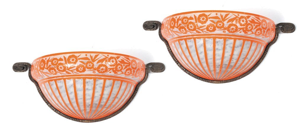 8: A fine pair of tangerine cameo glass wall lights by