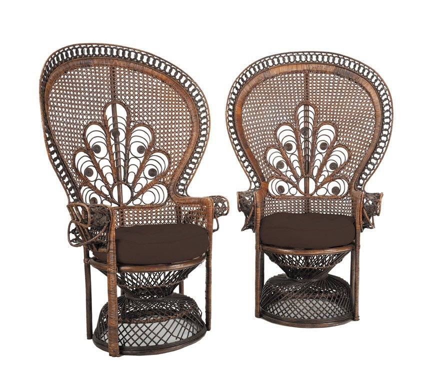 9: A pair of fine quality wicker work peacock chairs, F