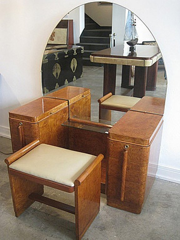 11: A walnut Art-Deco dressing table and matching stool
