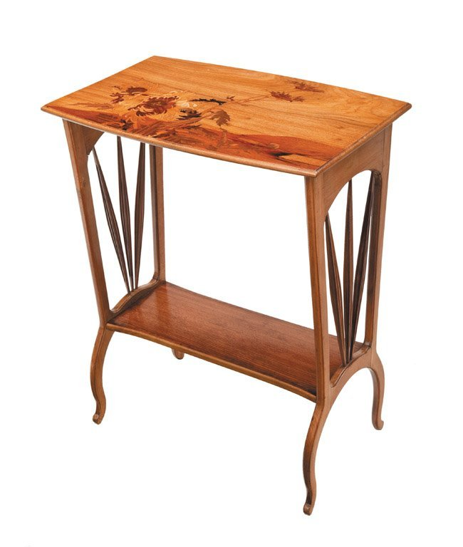 13: A fine marquetry Art Nouveau occasional table by Lo