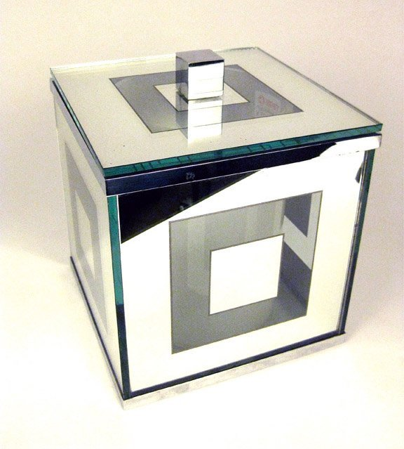 20: A Modernist chrome and glass box-form wine cooler,