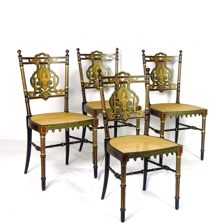 24: A set of four fine gilt and polychrome painted draw