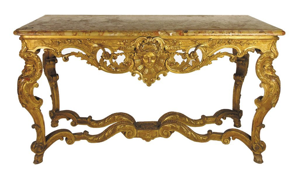 76: A very fine Louis XIV style gilt wood marble top co