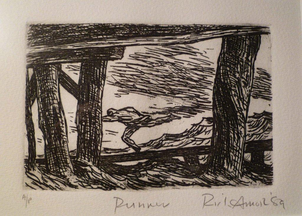 9: RICK AMOR (BORN 1948) Runner etching signed, titled