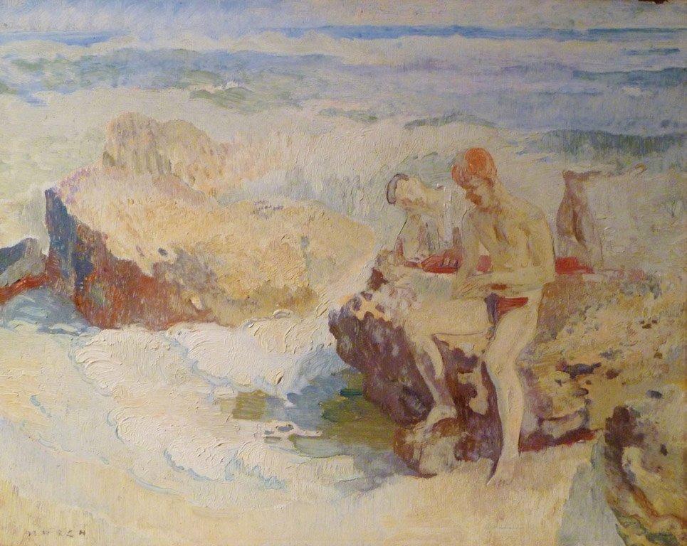 13: ARTHUR JAMES MURCH (1902–1989) Boys by the sea oil