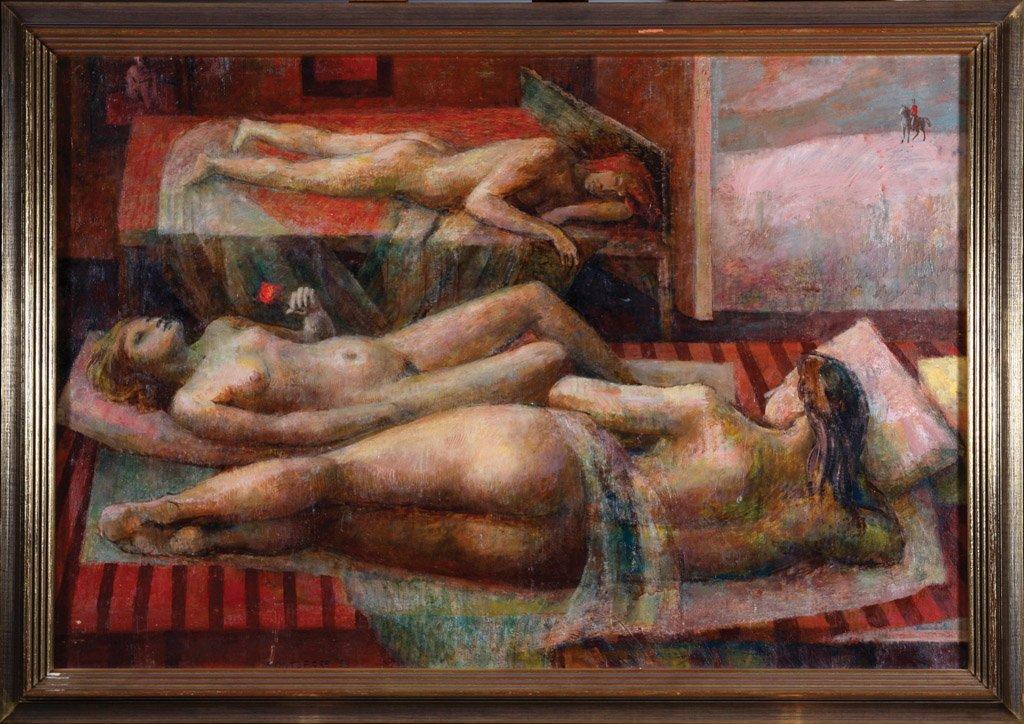 10: JOHN MONTEFIORE  (BORN 1936) Three nudes oil on boa