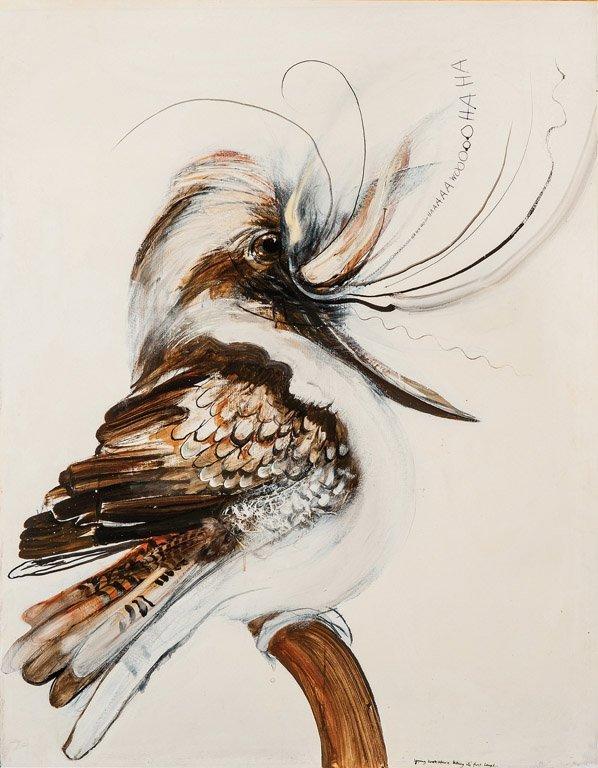390: BRETT WHITELEY (1939–1992) Young Kookaburra taking