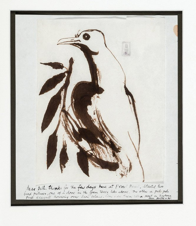391: BRETT WHITELEY (1939–1992) Dove in a gum tree Ink