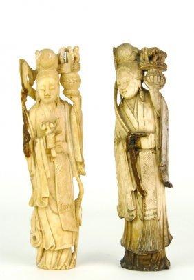 Two Chinese Carved Bone Figures Of Elegant Ladies,