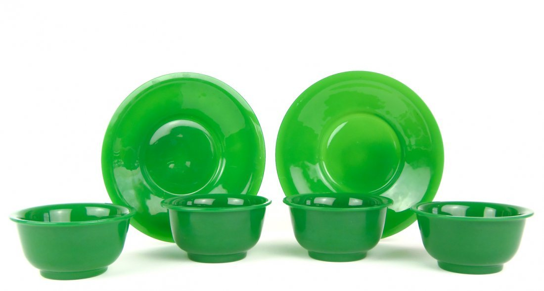 547: A set of six green Peking glass wares including fo