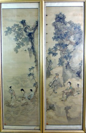553: Two Chinese scrolls, Qing Dynasty (1644-1911)  ink