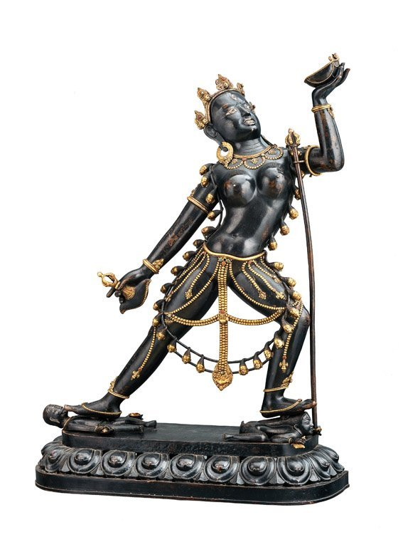 558: A monumental Nepalese parcel-gilt black patinated