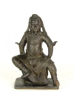 611: A Chinese bronze sculpture of Guandi, late Ming Dy
