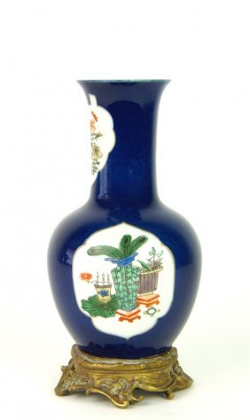 A Famille-vert Royal Blue Ground Vase With Bronze Mount