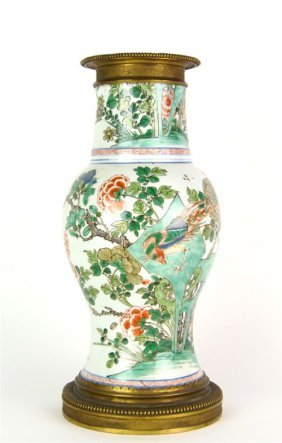 A Famille-vert And Gilt-bronze Mounted Vase, Chinese/Fr