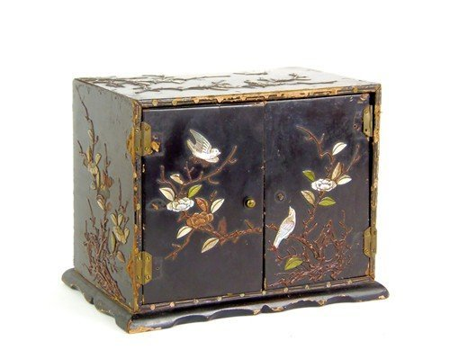 A hard-stone inlaid and lacquer miniature cabinet, Chin