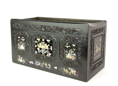 A fine mother-of-pearl inlaid and carved hardwood jardi
