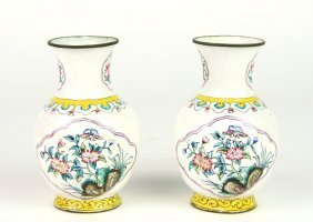 A pair of Cantonese enamel miniature vases, Chinese Qin
