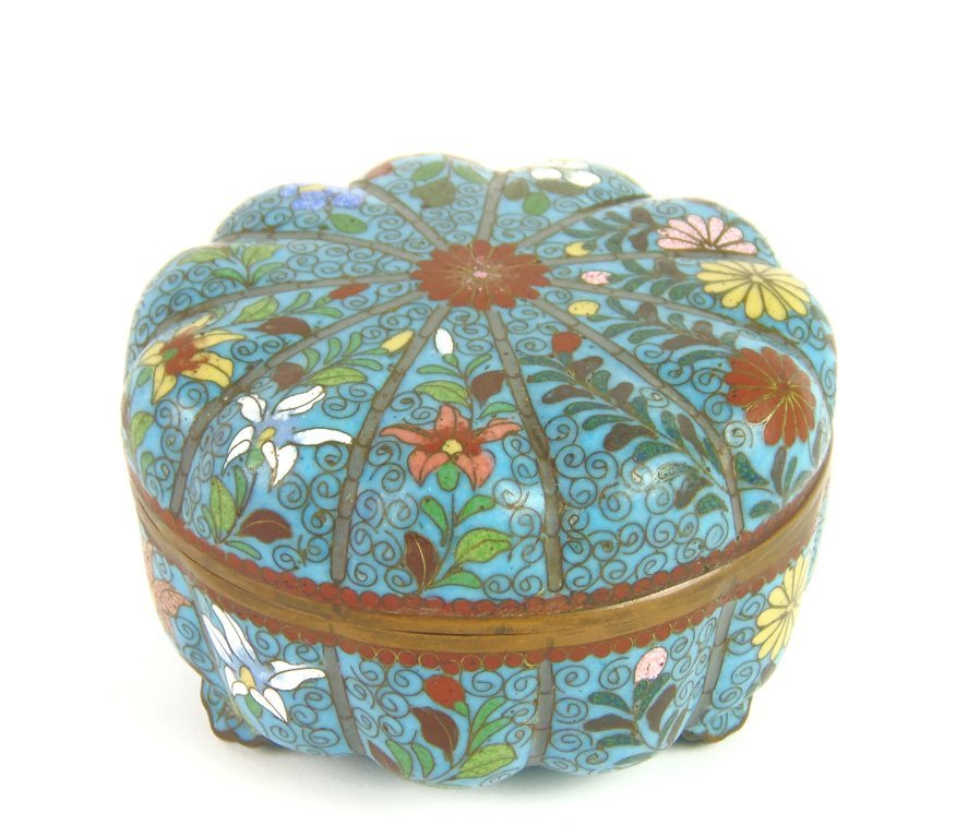 A cloisonné blue ground chrysanthemum bowl and cover, 1