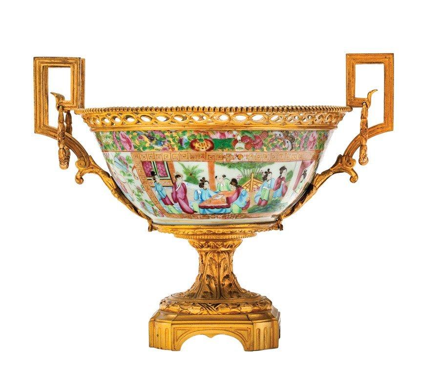 A fine Cantonese gilt bronze mounted porcelain pedestal
