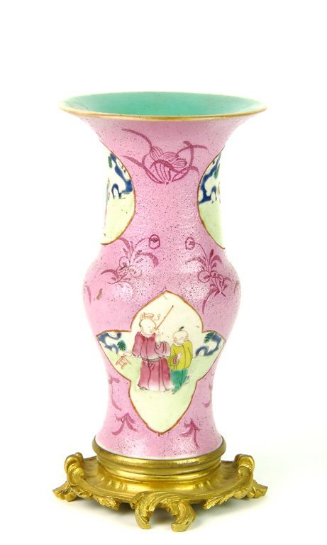 A pink ground famille-rose vase, Chinese with French 19