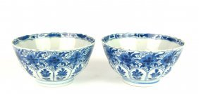 Two blue and white porcelain bowls, Chinese, Kangxi, 18