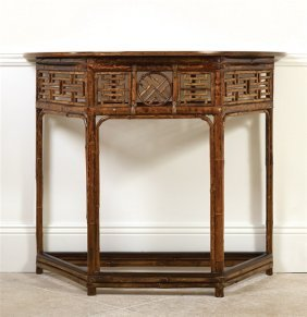A Chinese bamboo and lacquer console table, circa 1900
