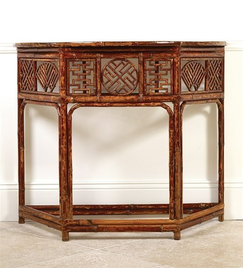 A good Chinese bamboo console table, 19th century 86.5