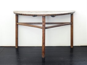 A provincial demi-lune walnut console table, Chinese, c