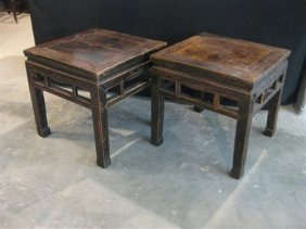A pair of Chinese contemporary square side tables 49 x