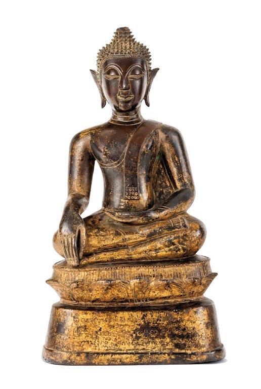 A gilt bronze seated Buddha, Burmese or Thai, 17th/18th