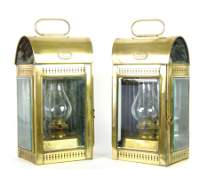 A pair of brass hanging lanterns English circa 1900 m