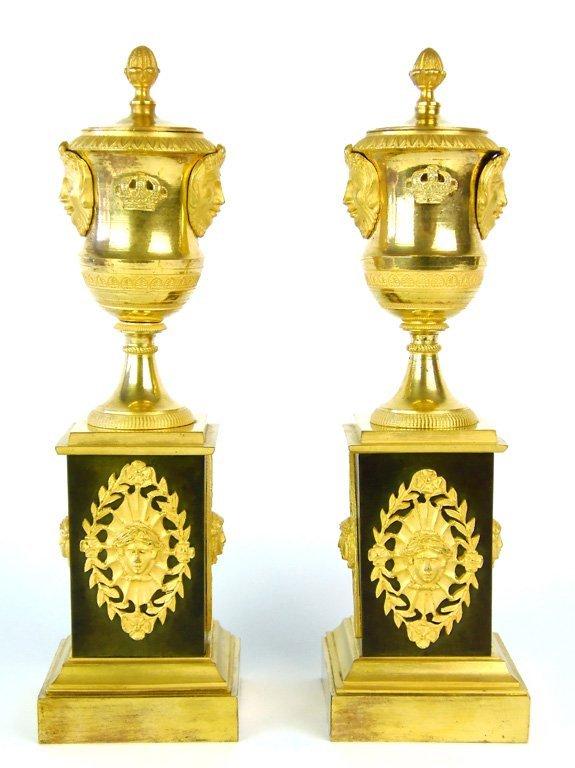 A pair of Louis XVI ormolu and bronze cassolettes, Fren