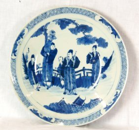 A Chinese blue and white dish, 20th century 40.5cm diam