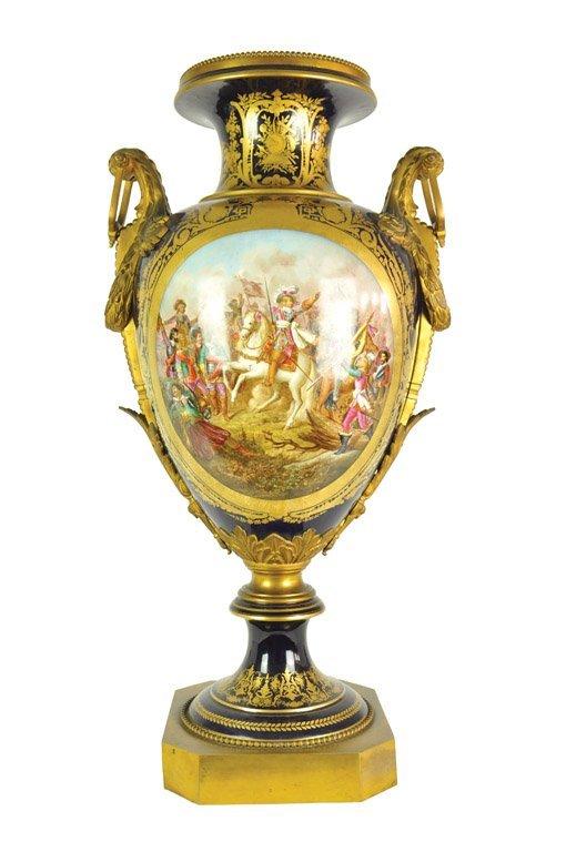 A large Sevres pattern porcelain battle scene vase with
