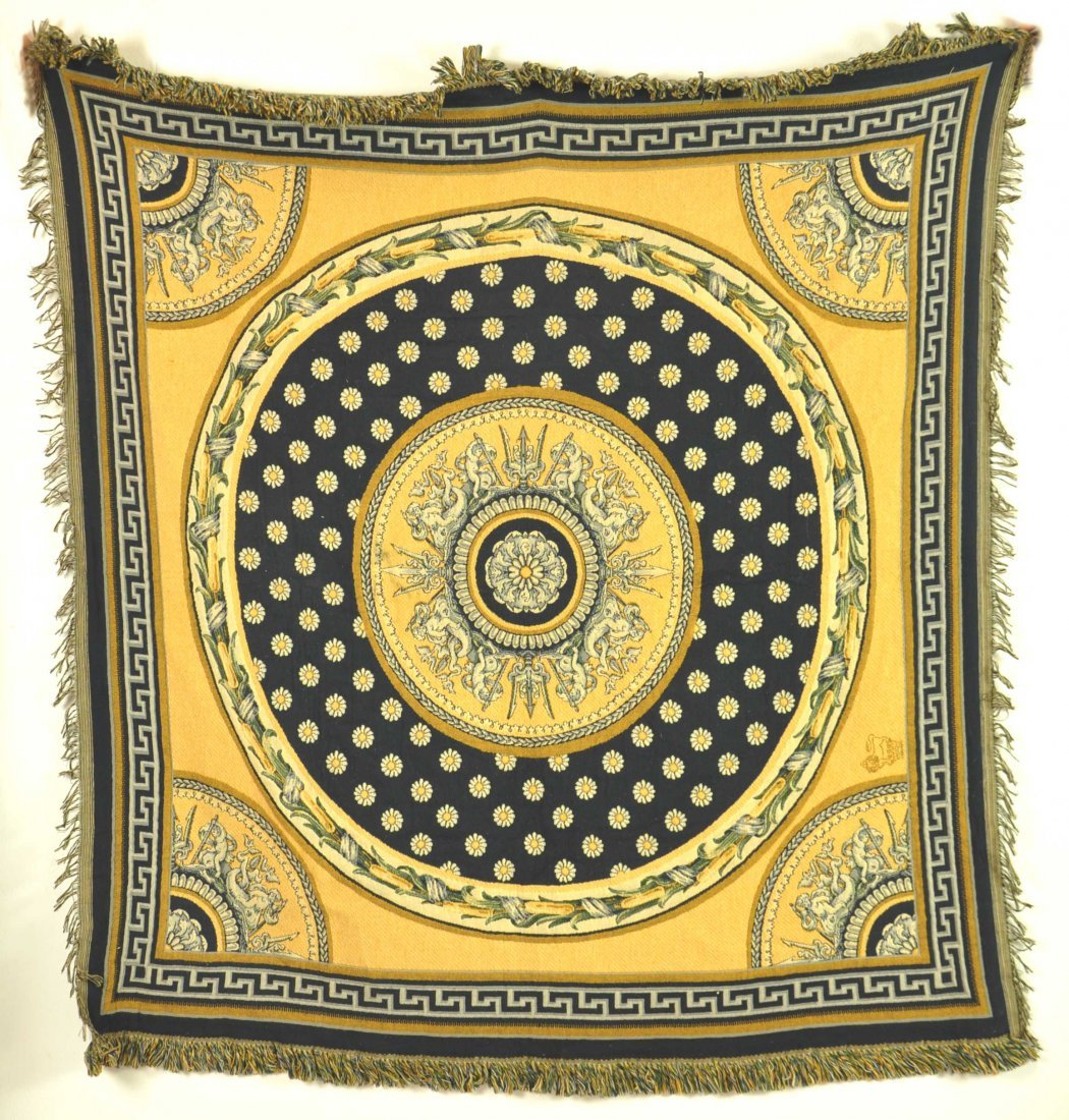 A tapestry panel woven with a ceiling design in royal b