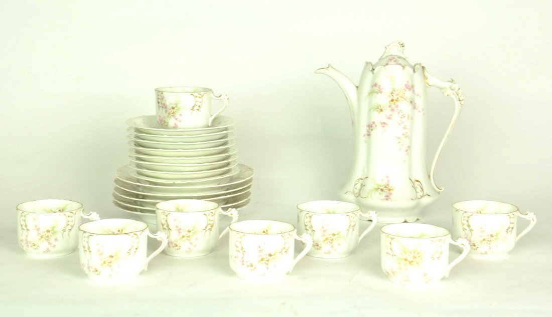 A Sevres pattern porcelain coffee service comprising 8