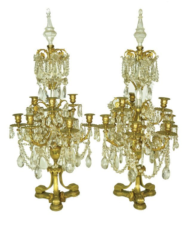 A pair of gilt bronze and glass table candelabra, Frenc