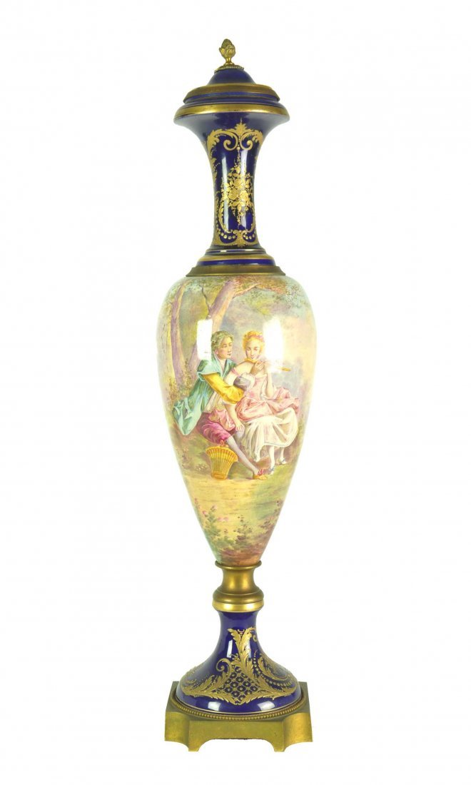 A Sevres pattern porcelain and gilt metal mounted cover
