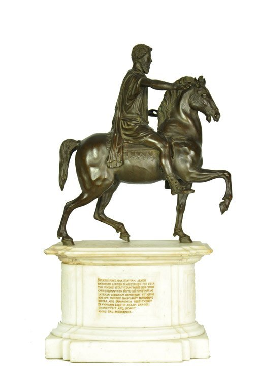 A grand tour bronze and marble statue of Marcus Aureliu