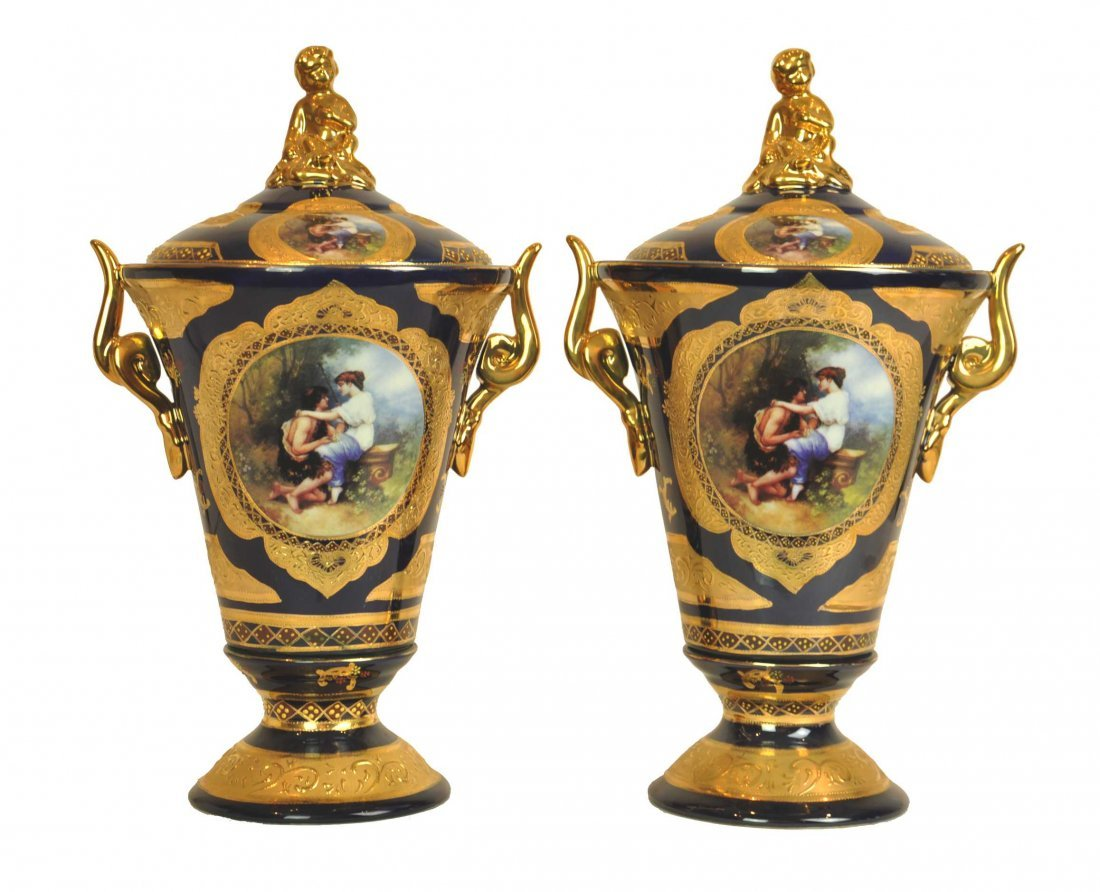 A pair of Gilt And Royal Blue Large Covered Vases
