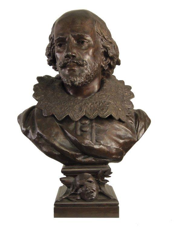A bronze bust of Shakespeare  signed Blot 67cm high