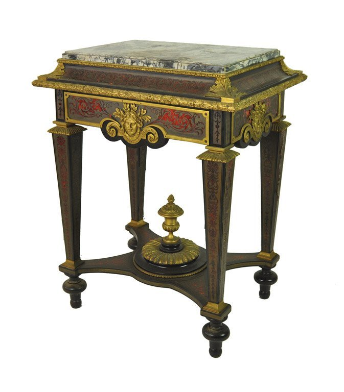 A good Louis XIV style scarlet-boulle, ebony veneered,